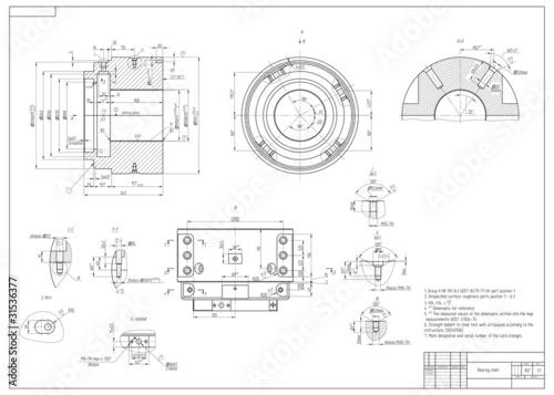 Fotografía  Machine-building drawing. Vector illustration