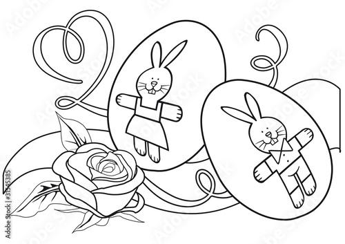 Fotobehang Cartoon draw illustrazione solo contorno da colorare con uova decorate e rosa