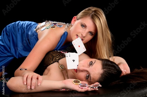 Poker Girls Canvas Print