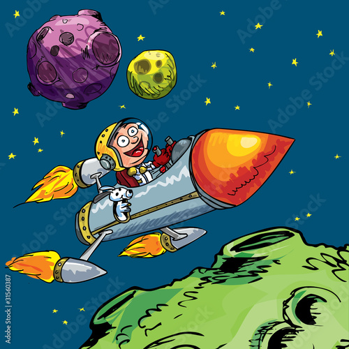 Garden Poster Cosmos Cartoon of little boy in a rocket