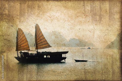 Fotografia  Jonque dans la baie d'Halong, style vintage