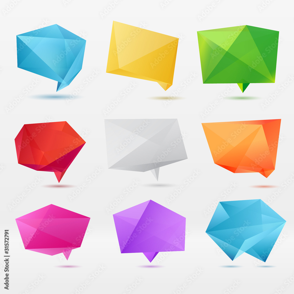 Fototapeta Abstract origami speech bubble vector background