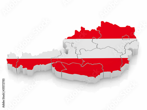 Fotografie, Obraz  Map of Austria in austrian flag colors