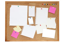 Noticeboard Or Pinboard With Lots Of Blank Paper On