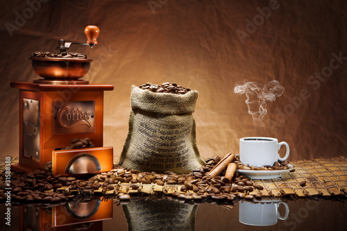 Obraz coffee accessories on mat - fototapety do salonu