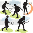 set vector tennis silhouettes