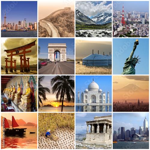 Fotografie, Obraz  Collage voyage autour du monde