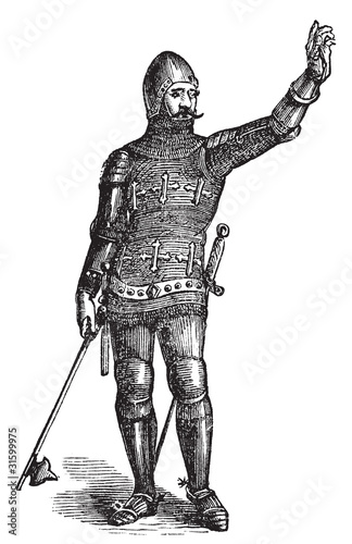 Stampa su Tela French soldier in armor in 1370, old engraving