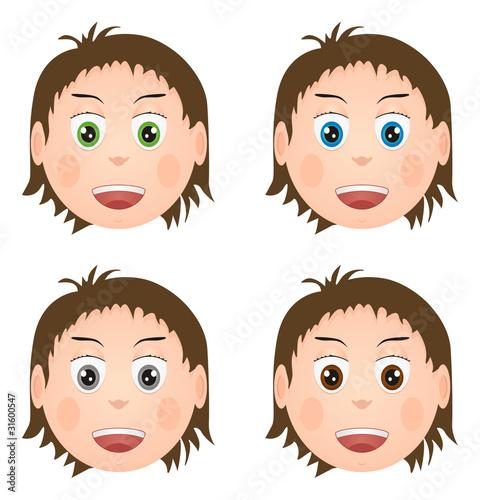 Uśmiechnięte twarze, manga, różne kolory oczu - fototapety na wymiar