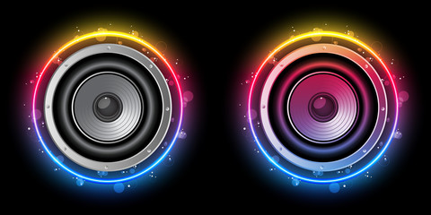 FototapetaDisco Speaker with Neon Rainbow Circle