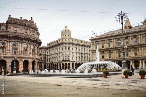 Fotografia  De Ferrari square in Genova, Italy