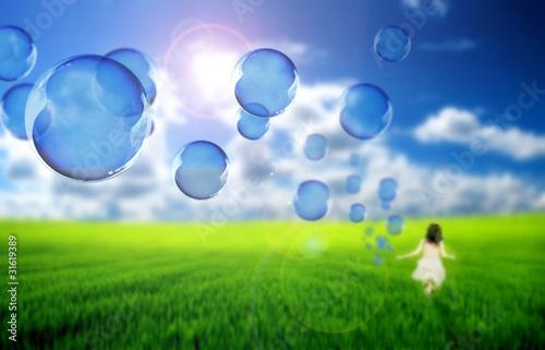 Foto op Plexiglas Groene Flying soap bubles