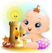 Bambina Neonata Al Mare-Baby Girl at the Beach-2-Vector