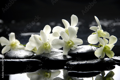 Staande foto Spa Zen stones and pink orchids with reflection