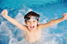 Activities On The Pool, Children Swimming