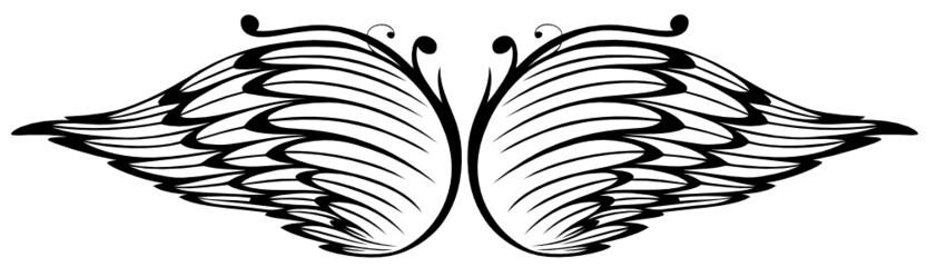 NaklejkaFlügel, Federn, Engel, wings, vector, schwarz