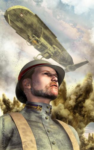 steampunk-wojenny-sterowiec-i-zolnierz