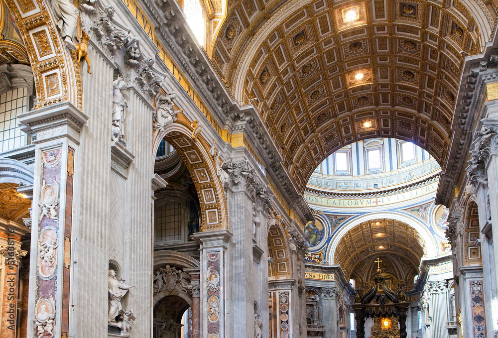 Fototapety, obrazy: Italy. Rome. Vatican. St Peter's Basilica. Indoor view.