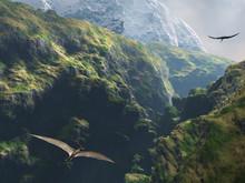 Pteranodon Flying Through The Canyon
