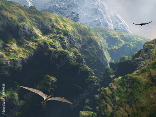 Pteranodon flying through the canyon Poster
