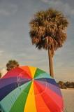 Fototapeta Tęcza - słońce pod parasolem