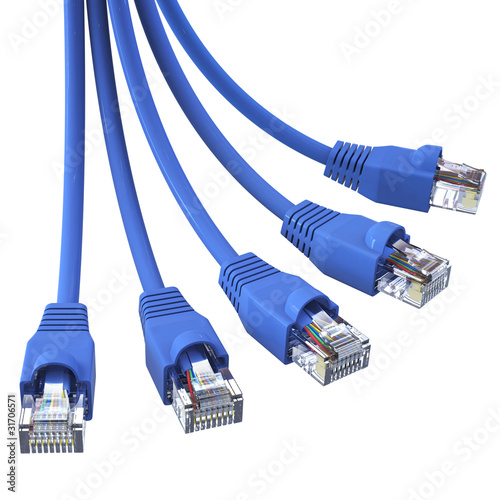 Fotografie, Obraz  Blue network cables - in a bunch