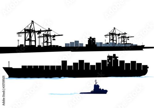 Leinwand Poster Hafen mit Container-Schiff