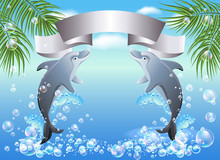Palm, Dolphin  And  Ribbon