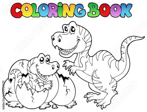 Tuinposter Doe het zelf Coloring book with tyrannosaurus