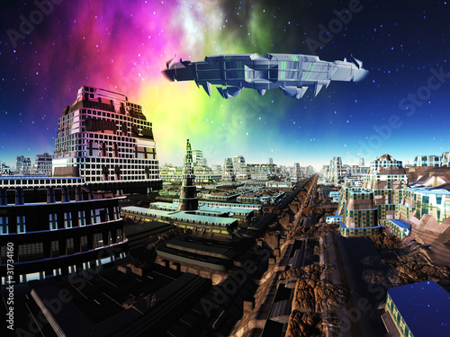 alien-spaceship-over-futuristic-metropolis