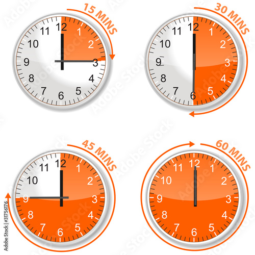 set of orange timer 15 30 45 and 60 minutes buy this stock vector