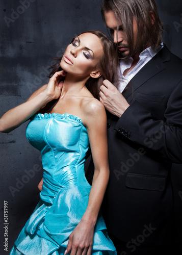 Fototapeta sexy, romantic portrait of the touching, kissing couple obraz
