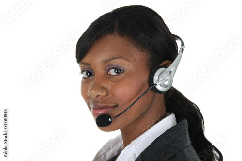 Photo  Attractive Business Woman with Headset 09