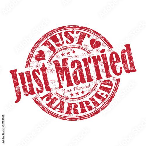 Fotografie, Obraz  Just married rubber stamp