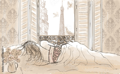 Poster de jardin Illustration Paris woman sleeping in Paris