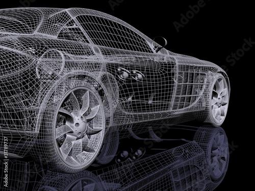 Plakaty samochody nowoczesne   siatka-3d-samochodu-koncepcyjnego