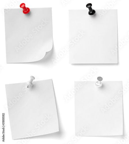 Fotografie, Obraz  push pin and note paper office business