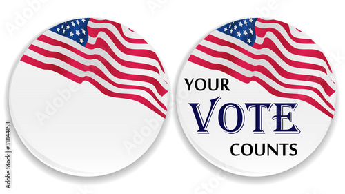 Voting pins with US flag Canvas-taulu