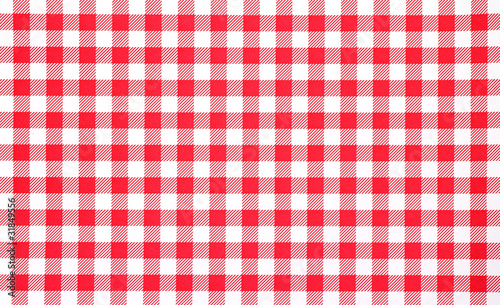 Obraz na plátně Close view of red checkerboard tablecloth