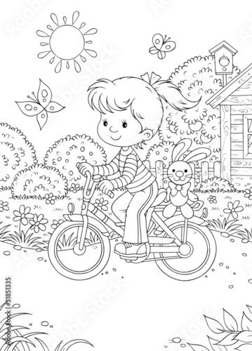 Türaufkleber Zum Malen Girl rides a bicycle