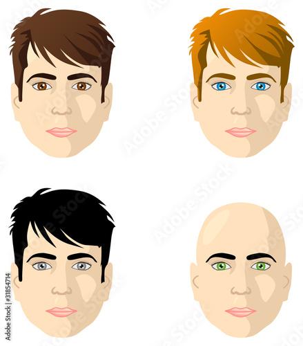 Fototapeta Męskie twarze, różne kolory oczu oraz włosów obraz