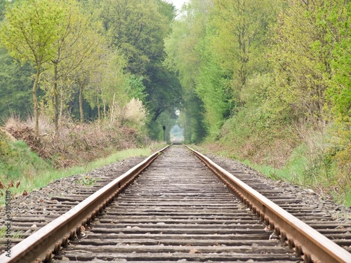 Poster Voies ferrées Eisenbahnschienen in die Zukunft