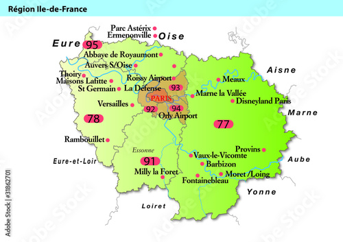 carte paris ile de france Carte région ile de france   Buy this stock vector and explore