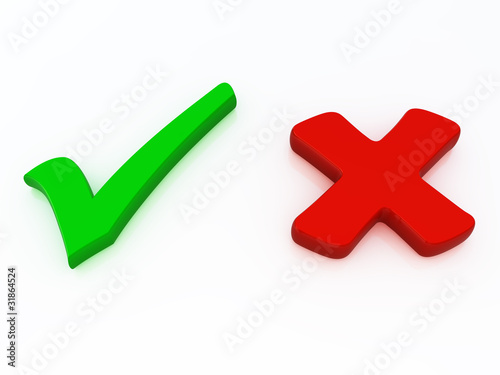 Fényképezés  Right and wrong check mark signs