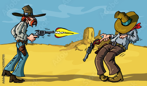 Aluminium Prints Wild West Cartoon cowboy shootout