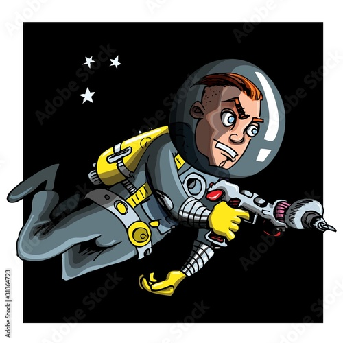 Foto op Canvas Kosmos Cartoon astronaout in a space suit
