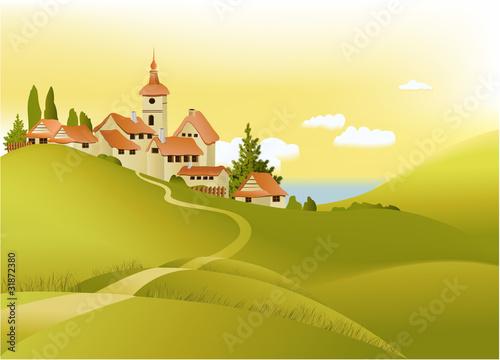 Staande foto Kasteel Rural landscape with little town
