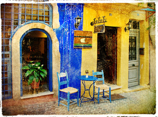 Obraz na Szkle Uliczki pictorial old streets of Greece - Chania, Crete