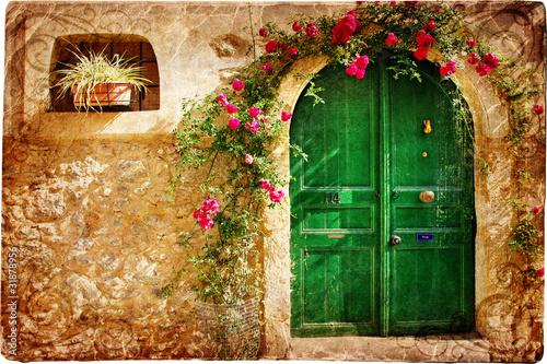 stare-greckie-drzwi-obraz-w-stylu-retro