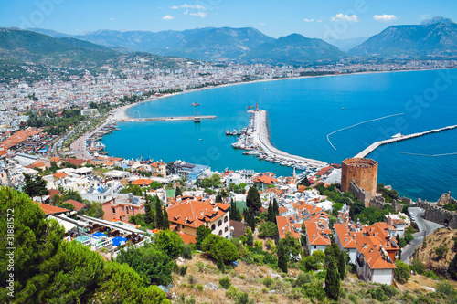 Tuinposter Turkije Alanya harbor, Turkey. View to fortress and marina.